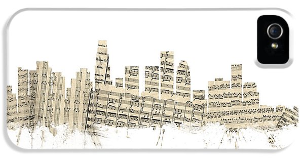 Los Angeles California Skyline Sheet Music Cityscape IPhone 5 Case by Michael Tompsett