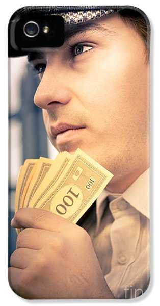 Man Holding Money Making A Financial Decision IPhone 5 Case by Jorgo Photography - Wall Art Gallery
