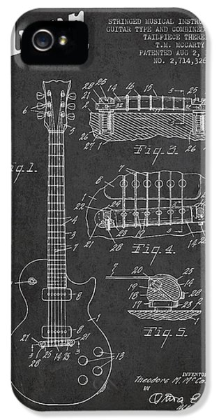 Mccarty Gibson Les Paul Guitar Patent Drawing From 1955 -  Dark IPhone 5 Case by Aged Pixel