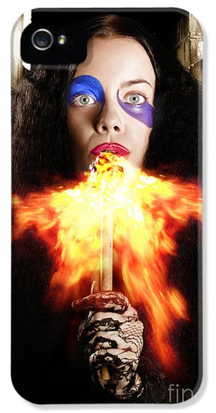 Breathe iPhone 5 Case - Medieval Jester Breathing Fire During Carnival Act by Jorgo Photography - Wall Art Gallery