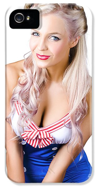 Navy Pinup Woman IPhone 5 Case by Jorgo Photography - Wall Art Gallery
