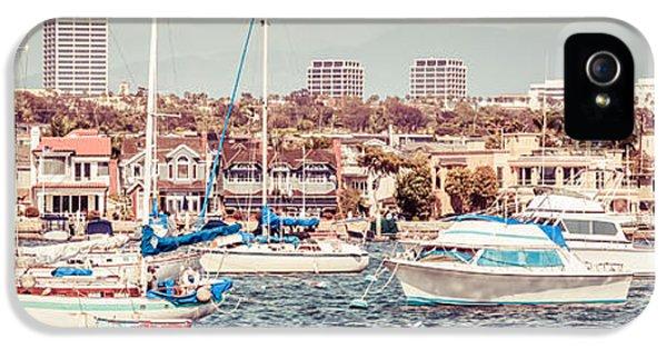 Newport Beach Skyline Retro Panorama Photo IPhone 5 Case by Paul Velgos