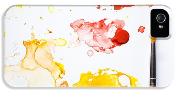 Paint Splatters And Paint Brush IPhone 5 / 5s Case by Chris Knorr