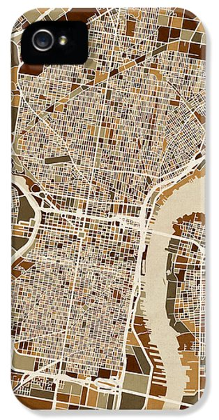 Philadelphia Pennsylvania Street Map IPhone 5 / 5s Case by Michael Tompsett