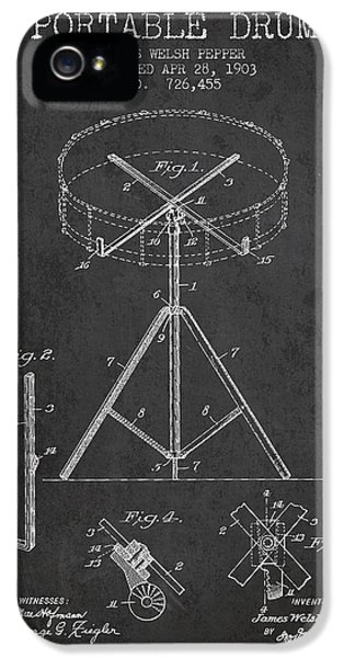 Drum iPhone 5 Case - Portable Drum Patent Drawing From 1903 - Dark by Aged Pixel