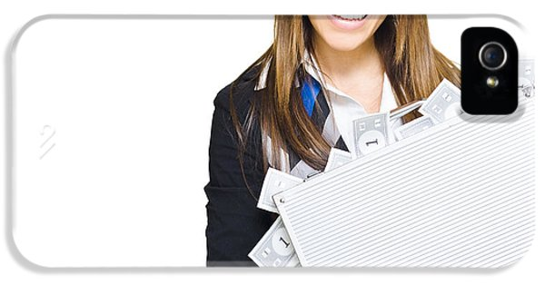 Rich Successful Business Woman Smiling With Money Briefcase IPhone 5 Case by Jorgo Photography - Wall Art Gallery