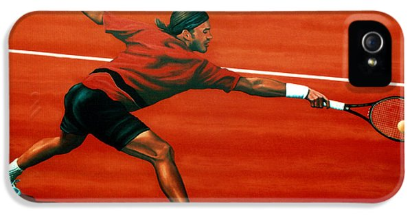 Roger Federer At Roland Garros IPhone 5 Case by Paul Meijering