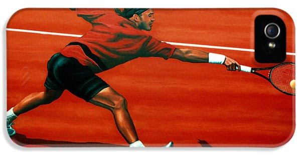 Roger Federer At Roland Garros IPhone 5 Case by Paul Meijering