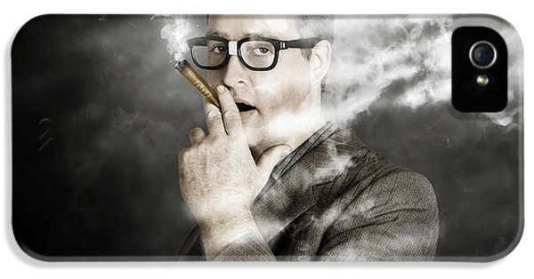 Rolling Rich Millionaire Businessman Smoking Money IPhone 5 Case by Jorgo Photography - Wall Art Gallery