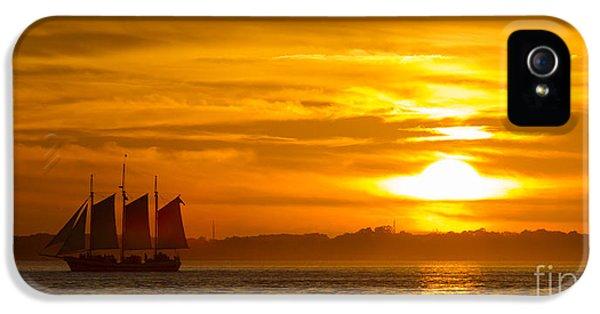 Sailing Yacht Schooner Pride Sunset IPhone 5 Case by Dustin K Ryan
