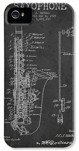 Saxophone iPhone 5 Case - Saxophone Patent Drawing From 1928 by Aged Pixel