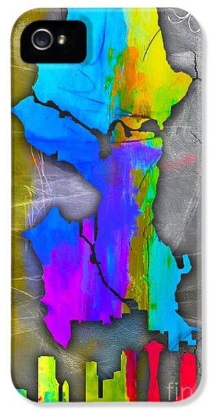 Seattle Map And Skyline Watercolor IPhone 5 Case