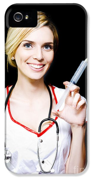 Smiling Female Doctor With Big Syringe IPhone 5 Case by Jorgo Photography - Wall Art Gallery