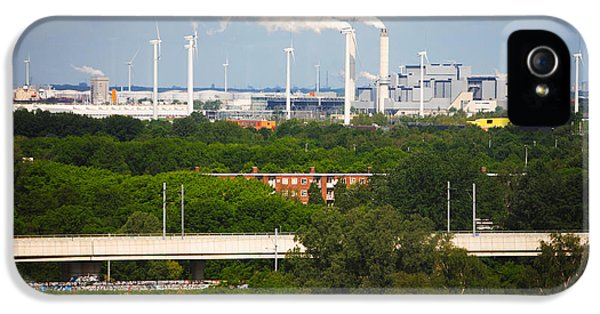 Smoke Stacks And Windmills At Power IPhone 5 Case by Panoramic Images