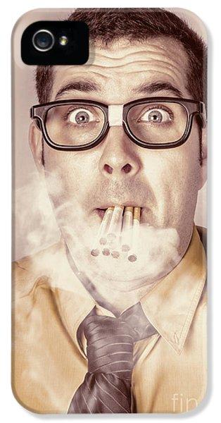 Smoking Nerd Businessman Under Work Stress IPhone 5 Case by Jorgo Photography - Wall Art Gallery