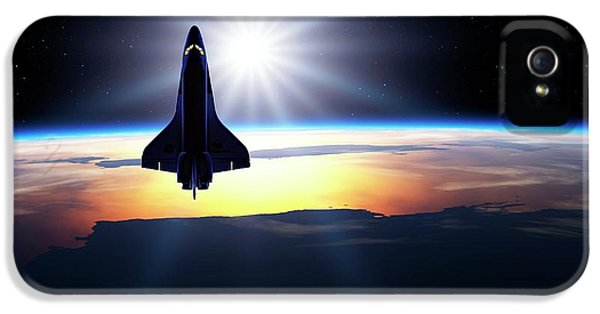 Space Shuttle In Orbit IPhone 5 Case by Detlev Van Ravenswaay