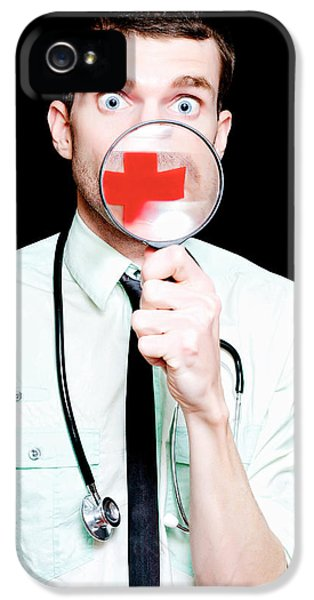 Surprised Doctor Showing Health Care Cross IPhone 5 Case by Jorgo Photography - Wall Art Gallery