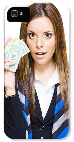 Surprised Young Business Woman Holding Fan Of Money IPhone 5 Case by Jorgo Photography - Wall Art Gallery