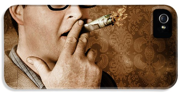 Vintage Business Man Smoking Money In Success IPhone 5 Case by Jorgo Photography - Wall Art Gallery