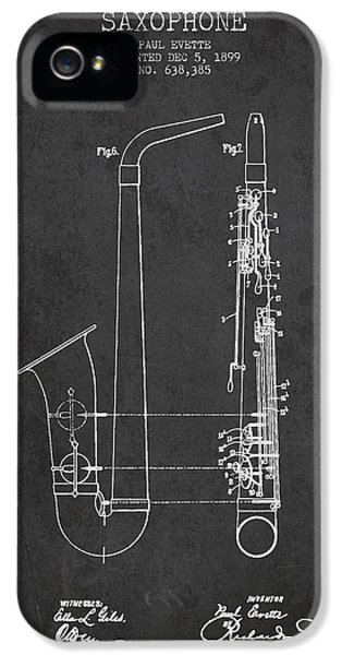 Saxophone Patent Drawing From 1899 - Dark IPhone 5 Case