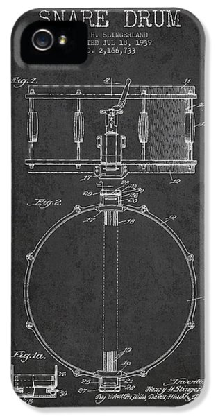 Drum iPhone 5 Case - Snare Drum Patent Drawing From 1939 - Dark by Aged Pixel
