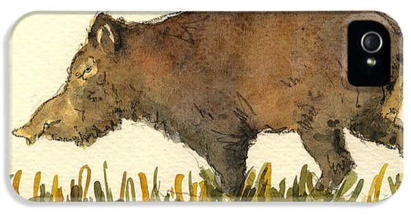 Pig iPhone 5 Case - Wild Pig by Juan  Bosco