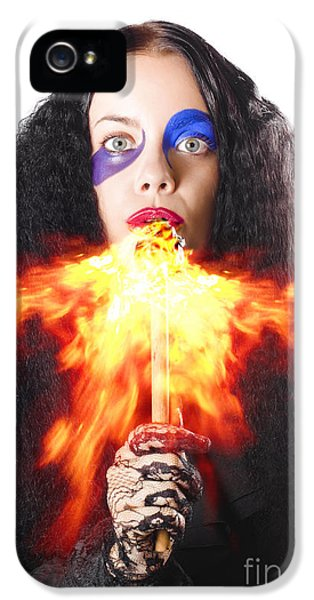 Breathe iPhone 5 Case - Woman Breathing Fire From Mouth by Jorgo Photography - Wall Art Gallery