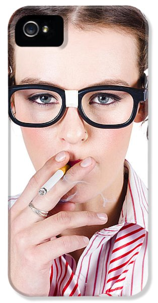 Woman Smoking Cigarette IPhone 5 Case by Jorgo Photography - Wall Art Gallery