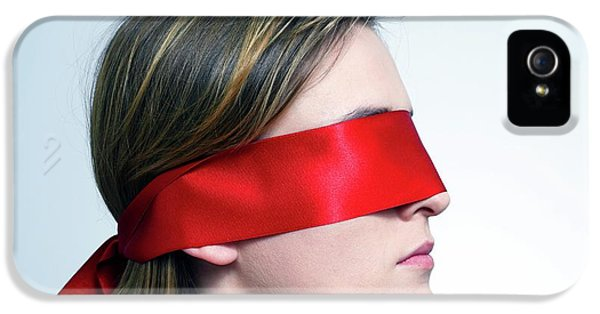 Woman Wearing Red Blindfold IPhone 5 Case by Victor De Schwanberg