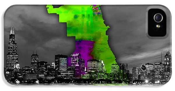 Chicago Map And Skyline Watercolor IPhone 5 / 5s Case by Marvin Blaine