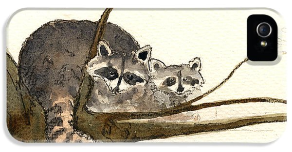 Raccoon IPhone 5 Case by Juan  Bosco