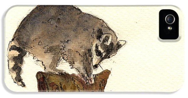 Raccoon iPhone 5 Case - Raccoon by Juan  Bosco