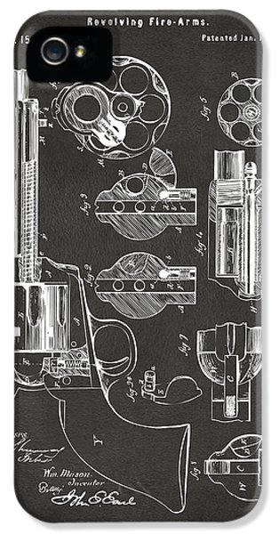 1875 Colt Peacemaker Revolver Patent Artwork - Gray IPhone 5 Case