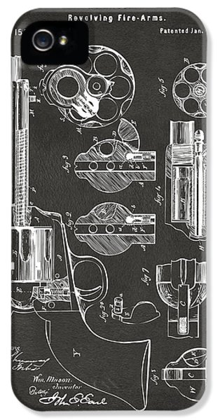 1875 Colt Peacemaker Revolver Patent Artwork - Gray IPhone 5 Case by Nikki Marie Smith