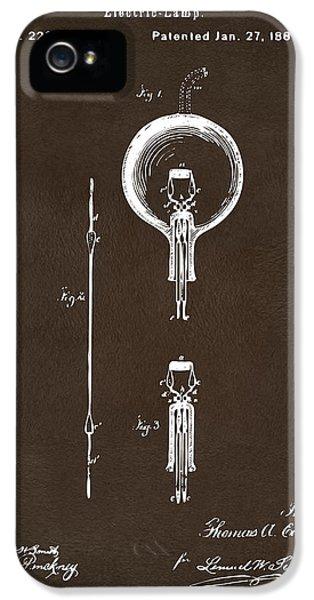 1880 Edison Electric Lamp Patent Artwork Espresso IPhone 5 Case