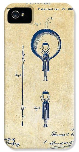 1880 Edison Electric Lamp Patent Artwork Vintage IPhone 5 Case