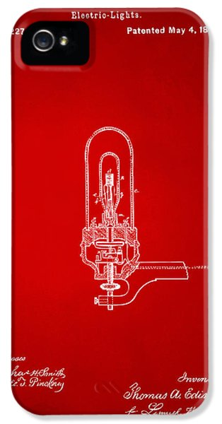 1880 Edison Electric Lights Patent Artwork - Red IPhone 5 Case by Nikki Marie Smith