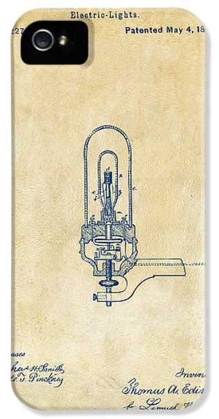 1880 Edison Electric Lights Patent Artwork - Vintage IPhone 5 Case by Nikki Marie Smith
