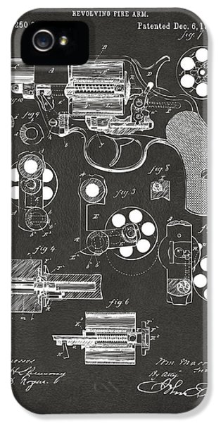 1881 Colt Revolving Fire Arm Patent Artwork - Gray IPhone 5 Case