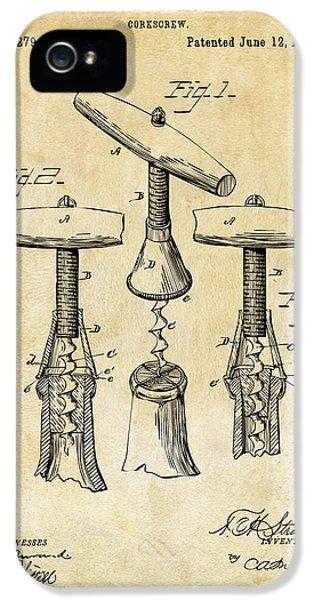 1883 Wine Corckscrew Patent Art - Vintage Black IPhone 5 Case