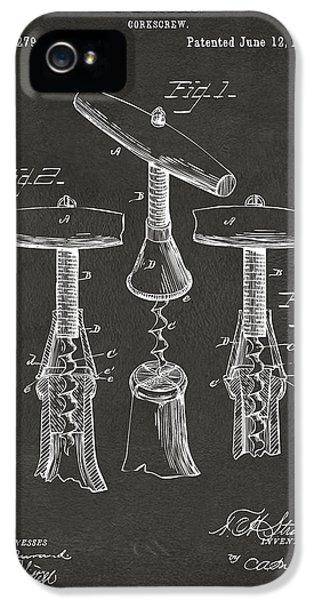 1883 Wine Corckscrew Patent Artwork - Gray IPhone 5 Case by Nikki Marie Smith