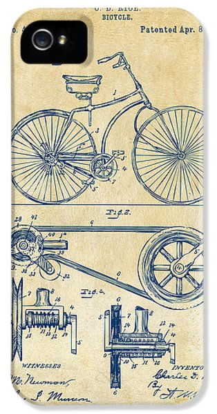 1890 Bicycle Patent Artwork - Vintage IPhone 5 Case by Nikki Marie Smith