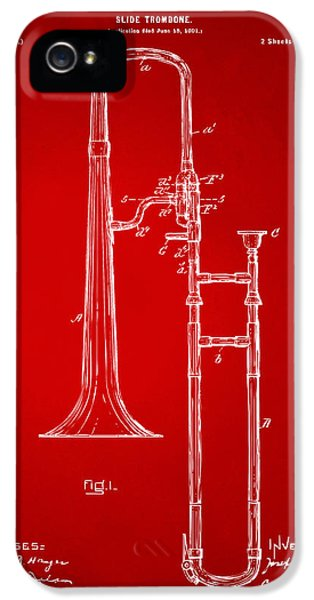 Trombone iPhone 5 Case - 1902 Slide Trombone Patent Artwork Red by Nikki Marie Smith