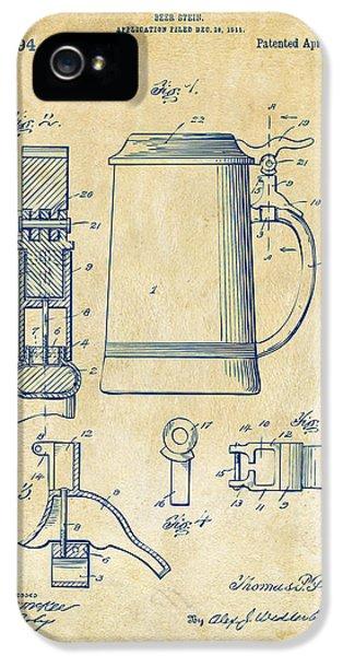 1914 Beer Stein Patent Artwork - Vintage IPhone 5 / 5s Case by Nikki Marie Smith