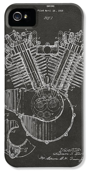 1923 Harley Engine Patent Art - Gray IPhone 5 Case