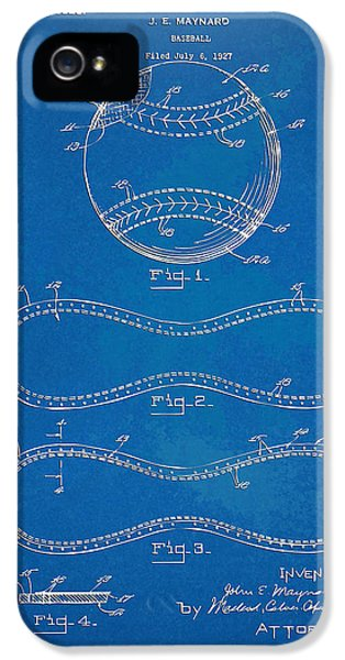 1928 Baseball Patent Artwork - Blueprint IPhone 5 Case by Nikki Smith