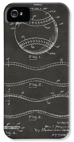Baseball iPhone 5 Case - 1928 Baseball Patent Artwork - Gray by Nikki Marie Smith