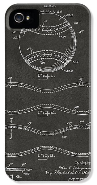 1928 Baseball Patent Artwork - Gray IPhone 5 Case by Nikki Marie Smith