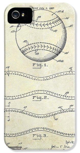 1928 Baseball Patent Drawing  IPhone 5 Case