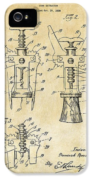 1928 Cork Extractor Patent Art - Vintage Black IPhone 5 Case by Nikki Marie Smith